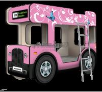 """Двухъярусная кровать-Автобус МикроБас """"Китти Кэт"""" розовый"""