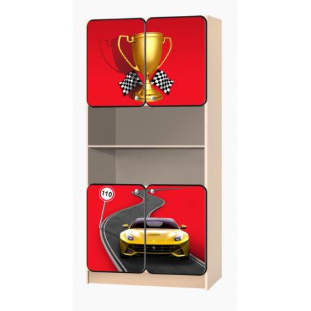 Carobus стеллаж распашной - Лого красный, Carobus