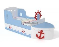 Кровать детская игровая Корабль голубой