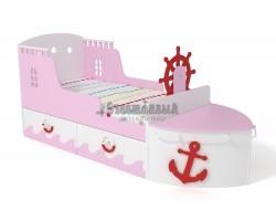Кровать детская игровая Корабль розовая