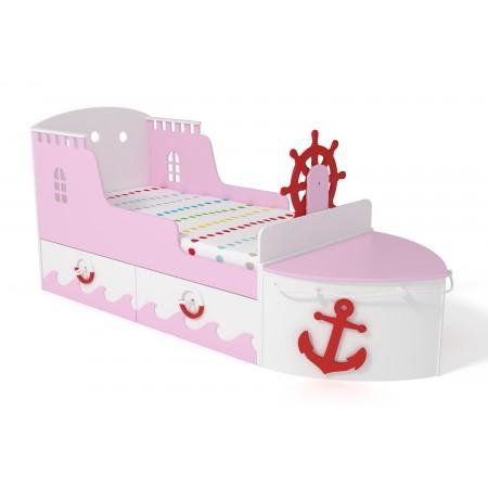 Кровать детская игровая Корабль розовая, Лесная Фея