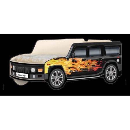 Кровать-машина Джип Хаммер «Пламя» чёрный, Carobus