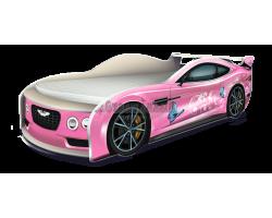 Кровать-машина Астон Мартин Бабочки розовый