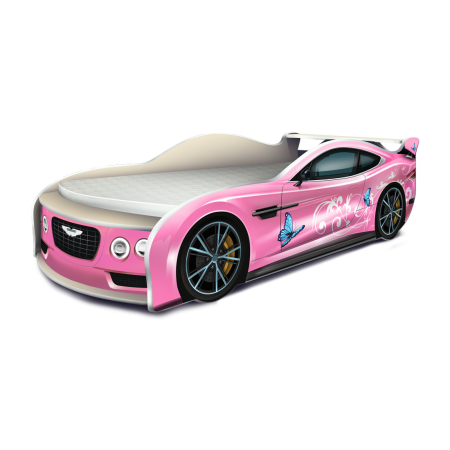 Кровать-машина Астон Мартин Бабочки розовый, Carobus