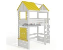 Кровать чердак Домик Нежность 1К+ С крышей и окном