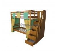 Двухъярусная кровать с лестницей - ящиками Альпинист