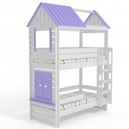 Кровать Домик Нежность 2К+ двухъярусная, Bambini Letto