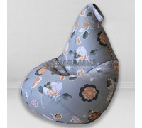 Кресло мешок Цветы на сером