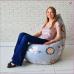 Кресло мешок Цветы на сером, MyPuff