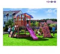 Набор для игровой площадки: детский домик с песочницей, тентом, горкой и 2мя качелями, 2мя скалодром