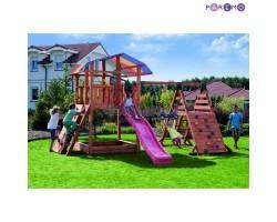 Набор для игровой площадки: детский домик с песочницей, тентом, горкой, качелей и сдвоенными кольцам