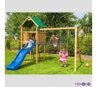 Набор для игровой площадки: детский домик с песочницей и 2скатной крышей, горкой и 2мя качелями