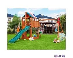 Игровой набор для детской площадки: домик с тентом, горка с лестницей, песочница, канат, веревочная