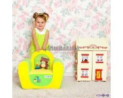 Игровое детское кресло Медвежонок - Желтый+Салатовый