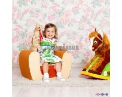 Мягкое детское кресло Котенок Бежевый+Оранжевый
