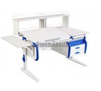 Парта Дэми СУТ 25-05Д2 WHITE DOUBLE с раздельной столешницей, приставками и подвесной тумбой