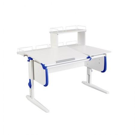 Парта Дэми СУТ-25-01Д WHITE DOUBLE с раздельной столешницей, задней двухярусной и одной одноярусной приставкой, ДЭМИ Мебель