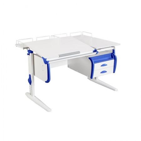 Парта Дэми СУТ-25-04 WHITE DOUBLE с раздельной столешницей, двумя задними приставками и подвесной тумбой, ДЭМИ Мебель