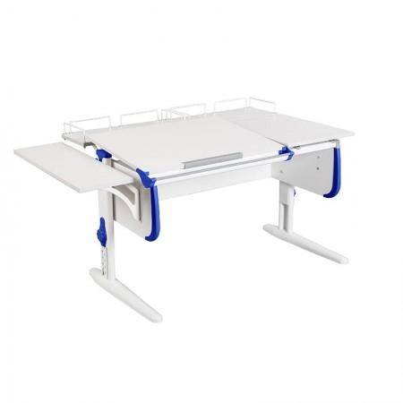 Парта Дэми СУТ-25-02 WHITE DOUBLE с раздельной столешницей, боковой и двумя задними приставками, ДЭМИ Мебель