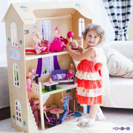 Кукольный домик для Барби - Шарм 16 предметов мебели 2 лестницы, PAREMO