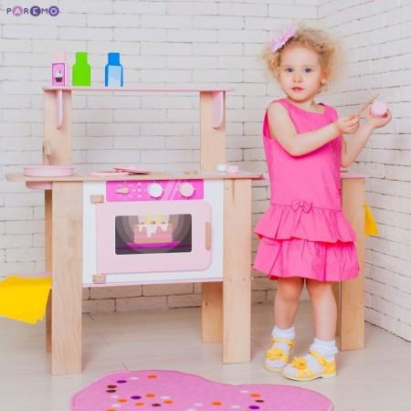 """Деревянная кухня-трансформер для девочек """"Ванильный смузи"""" с 16 аксессуарами, PAREMO"""