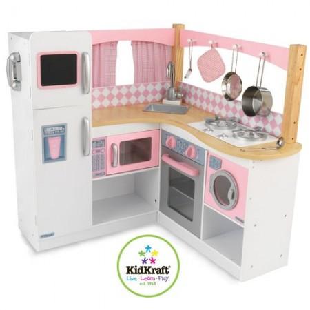 """Большая детская кухня из дерева для девочек """"Изысканный уголок"""" (Grand Gourmet Corner Kitchen), KidKraft"""