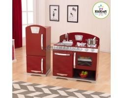 Деревянная игровая кухня «Ретро с холодильником» цв. Клюква
