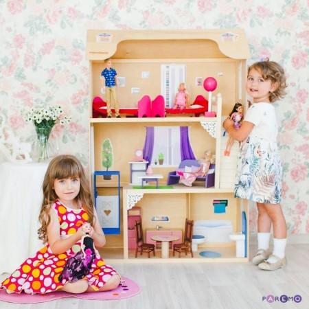 Кукольный домик для Барби - Грация 16 предметов мебели лестница лифт качели, PAREMO