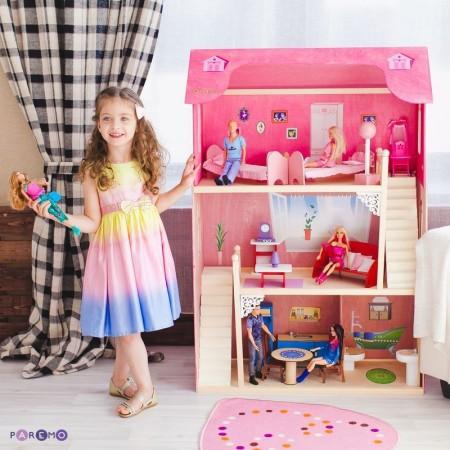 Кукольный домик для Барби - Вдохновение 16 предметов мебели 2 лестницы, PAREMO
