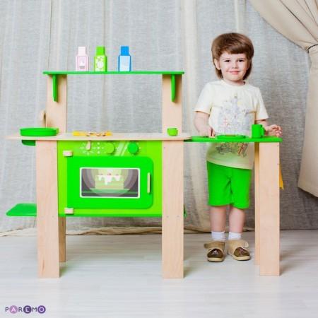 """Кухня из дерева для мальчиков и девочек """"Мятный лимонад"""" с 16 аксессуарами, PAREMO"""