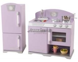 Деревянная игровая кухня для девочек «Ретро с холодильником» цв. Лаванда