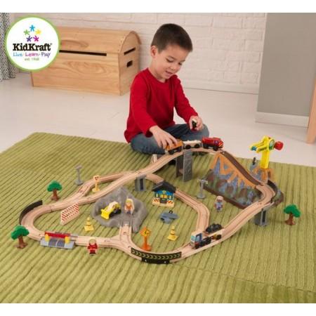"""Железная дорога - деревянный игровой набор """"Горная стройка"""", в  контейнере, KidKraft"""