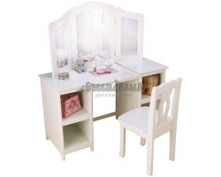 """Белый деревянный туалетный столик (трельяж) для девочек """"Делюкс"""" (Deluxe Vanity & Chair)"""