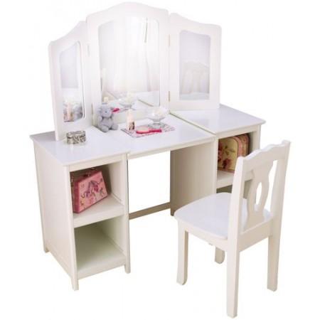 """Белый деревянный туалетный столик (трельяж) для девочек """"Делюкс"""" (Deluxe Vanity & Chair), KidKraft"""