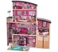 Большой искрометный кукольный дом для Барби Сияние - Sparkle Mansion с мебелью 30 элементов