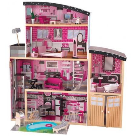 Большой искрометный кукольный дом для Барби Сияние - Sparkle Mansion с мебелью 30 элементов, KidKraft