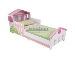 Детская кровать Кукольный домик с полочками