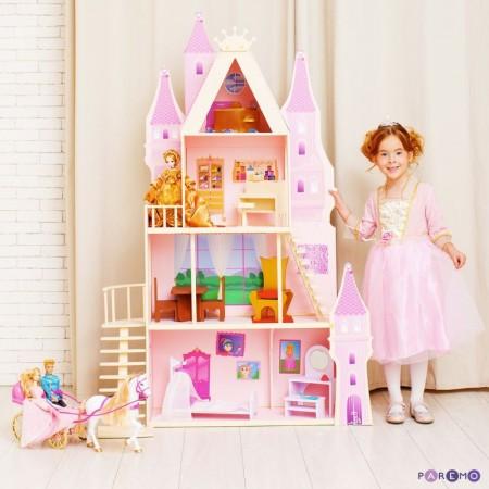 Кукольный дворец - Розовый сапфир с 16 предметами мебели и текстилем, PAREMO