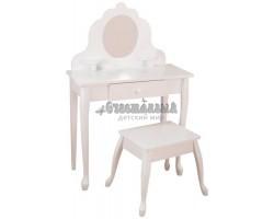 """Белый туалетный столик из дерева для девочки """"Модница"""" (White Medium Vanity & Stool)"""