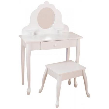 """Белый туалетный столик из дерева для девочки """"Модница"""" (White Medium Vanity & Stool), KidKraft"""