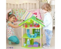 """Кукольный домик """"Фиолент"""" с мебелью 14 предметов"""