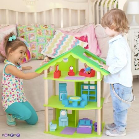 """6889, Трехэтажный домик для кукол Фиолент"""" с 14 предметами мебели"""", PD216-02, 5700ք, 6889-01, PAREMO, Домики для мини-кукол (12 см)"""